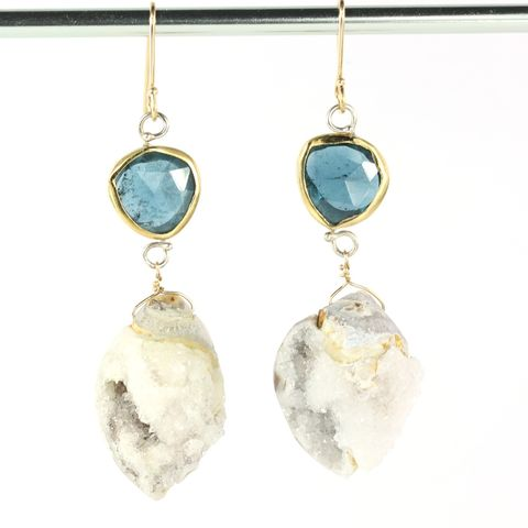 Rose,Cut,Indicolite,Earrings,With,Druzy,Fossil,Seashells,handmade indicolite jewelry, handmade indicolite earrings, handcrafted indicolite jewelry, handcrafted indicolite earrings, druzy fossil seashell jewelry, drusy fossil seashell jewelry, handmade blue tourmaline earrings, handcrafted blue tourmaline earrin