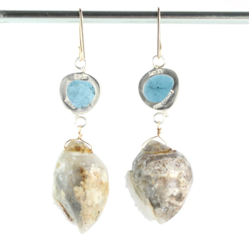 Rose Cut Indicolite Earrings With Druzy Fossil Seashells - product images  of