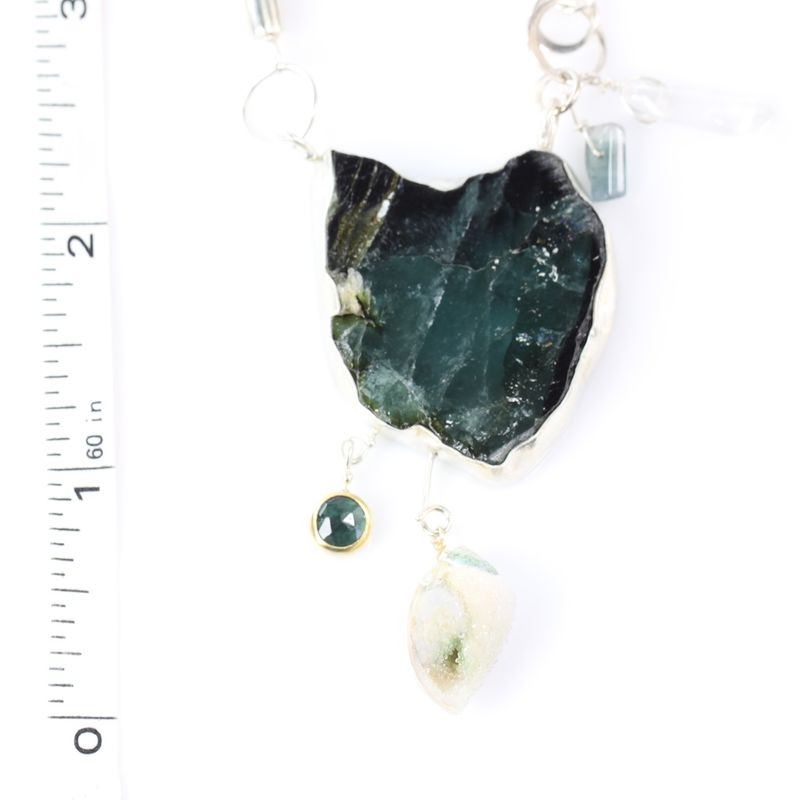 Indicolite Slice Necklace With Druzy Seashell Fossil & Zebra Jade - product images  of