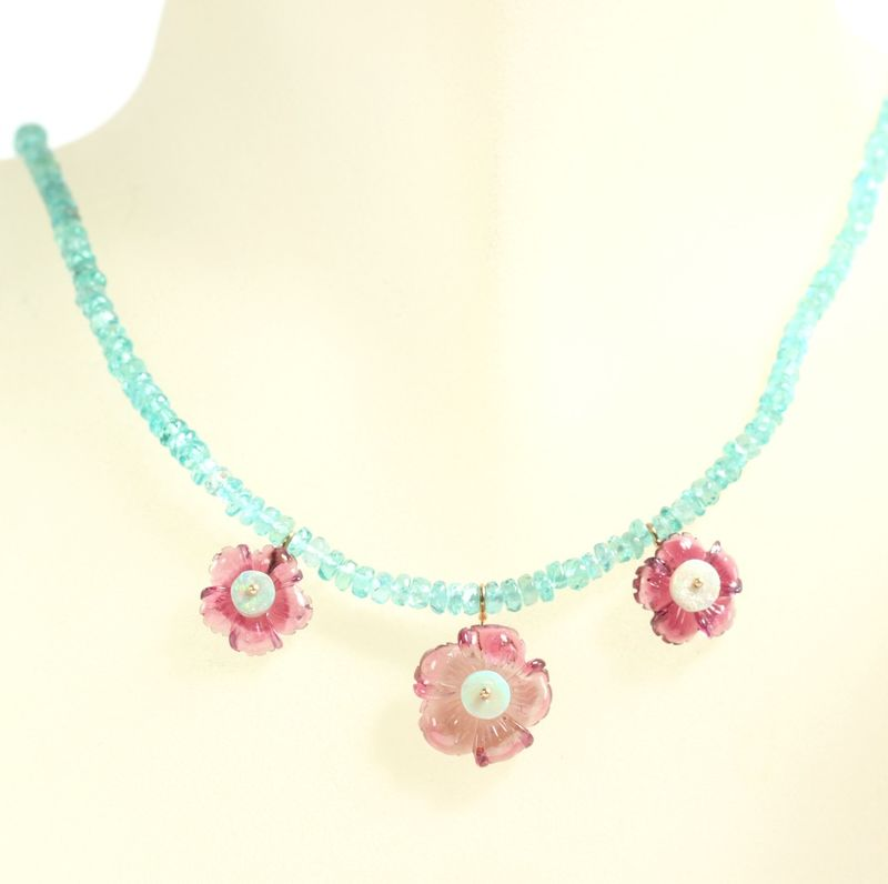 Carved Tourmaline Flower Necklace With Opals & Apatite - product images  of