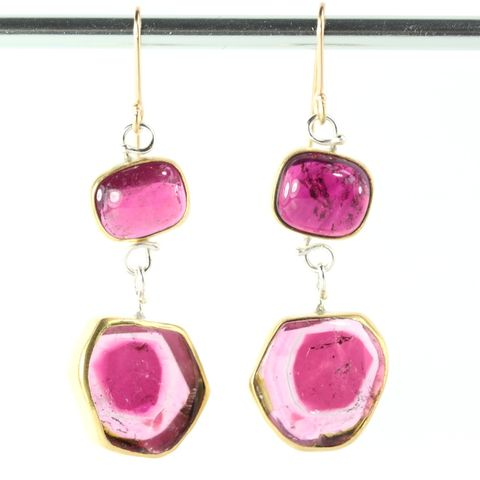 Pink,Rubelite,Tourmaline,Earrings,With,Watermelon,Drops,unique handcrafted jewelry, handcrafted artisan jewelry, unique gemstone jewelry, unique stone jewelry,natural crystal jewelry, handmade raw crystal jewelry, Pink tourmaline earrins, rubelite, rubelite earrings, rubelite jewelry, watermelon tourmaline jew