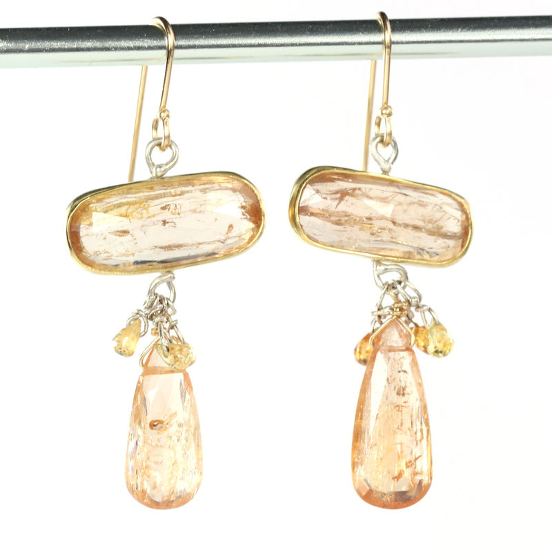 Rose Cut Imperial Topaz Earrings with Sapphire Briolettes - product images  of