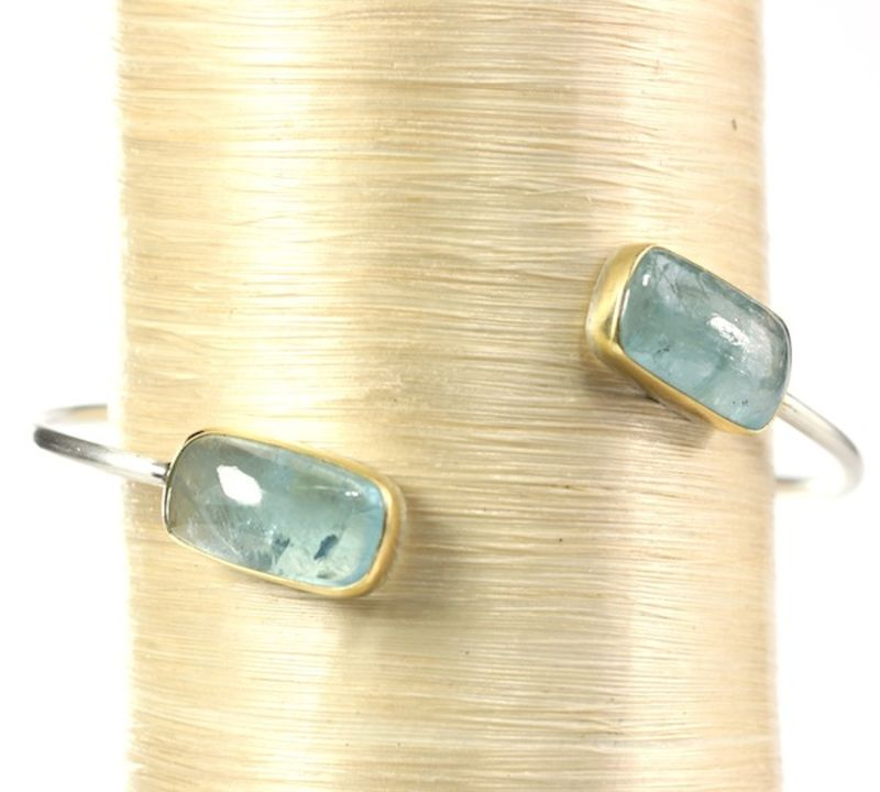 Aquamarine Double Gemstone Bangle - product images  of