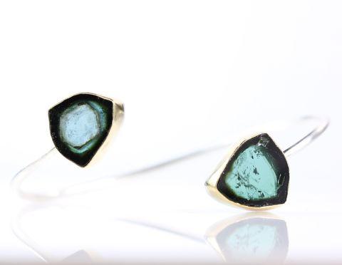 Indicolite Blue Tourmaline Crystal Slice Bracelet Cuff