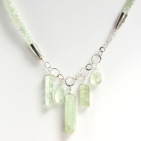 Prehnite,&,Polished,Beryl,Crystal,Necklace,prehnite_green_beryl_necklace_polished_crystal_raw_natural crystal jewelry, handmade raw crystal jewelryunique handcrafted jewelry, handcrafted artisan jewelry, unique gemstone jewelry, unique stone jewelry_new orleans