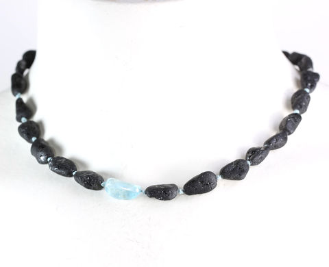 Tumbled,Black,Tourmaline,&,Aquamarine,Necklace,schorl_black_tourmaline_necklace_tumbled_aquamarine_handmade_jewelry_New Orleans_unique handcrafted jewelry_handcrafted artisan jewelry_unique gemstone jewelry_unique stone jewelry
