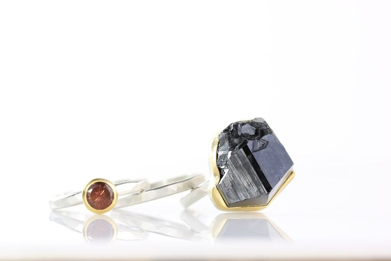 Raw Black Tourmaline Crystal & Oregon Sunstone Stacking Rings - product images  of