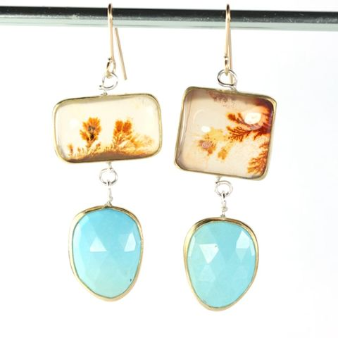 Dendritic,Agate,and,Turquoise,Drop,Earrings,mis_matched_ mismatched_mis matched_dendritic_agate_turquoise_rose cut_rosecut_earrings_handmade_jewelry_natural_22K_gold_sterling_silver_unique_handcrafted_jewelry_ artisan _unique_gemstone _stone_New Orleans