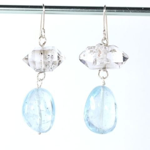 Herkimer,Diamond,&,Aquamarine,Earrings,mis_matched_earrings_mismatched_herkimer_diamond_aquamarine_jewelry_handmade_unique_handcrafted_jewelry_ artisan _unique_gemstone _stone_natural_New Orleans_beryl