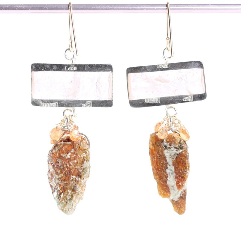 Morganite Earrings with Orange Kyanite Drops & Sapphire Briolettes - product images  of
