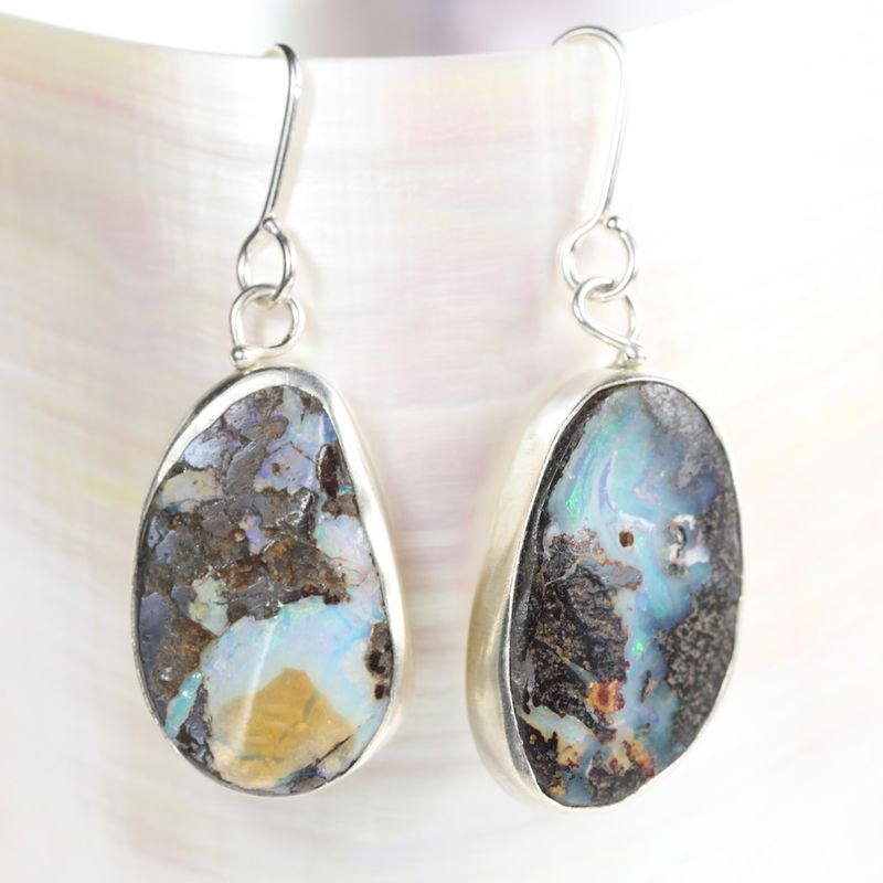 Miss Matched Australian Boulder Opal Earrings - product images  of