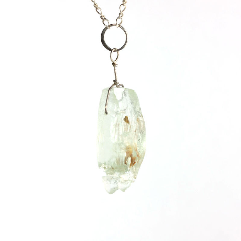 Raw Aquamarine Beryl Crystal Pendant with Inclusions - product images  of