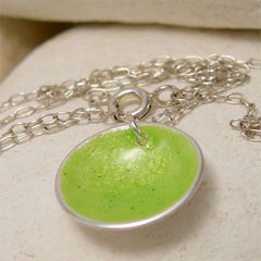 Small,Round,Lime,Green,Enamel,Silver,Pendant,Necklace,Jewelry, pendant, necklace,  Sterling,  enamel silver, small, round,  lime green, summer green,  yellow green,  chartreuse jewelry,  august birthday