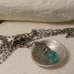 Beach,Jewelry,,Silver,Sea,Swirl,Pendant,with,Aqua,Apatite,Gemstone,Jewelry,Necklace,Metalwork,sterling_silver,round_silver_pendant,round_domed_disc,dainty_necklace,textured_silver,nature_necklace,gemstone_necklace,rustic_jewelry,beach_jewelry,aqua_apatite,blue_green_gemstone,wire_wrapped_pendant,spiral_necklace
