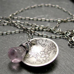 Jasmine,Textured,Round,Sterling,Silver,Domed,Disc,Pendant,with,Purple,Amethyst,Gemstone,Jewelry,Necklace,Metalwork,sterling_silver,round_silver_pendant,round_domed_disc,silver_flower,dainty_necklace,textured_silver,nature_necklace,purple_amethyst,gemstone_necklace,flower_jewelry,february_birthstone,jasmine_necklace,rustic_jewelry