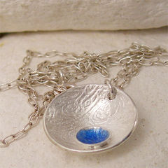 Blue,Enamel,Silver,Seed,Pod,Pendant,Jewelry, Necklace, Enamel,enamel silver, enamel jewelry, blue enamel necklace, bride jewelry, bridesmaid jewelry, silver seed pod, seed pod pendant, blue glass, fused glass necklace, organic necklace, sapphire blue, enamel pendant, nature necklace