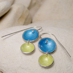 Colorful,Earrings,,Blue,&,Yellow,Round,Silver,Dangle,Enamel,Earrings,Jewelry, Earrings, Dangle, colorful earrings, blue yellow earrings, round earrings, dangle earrings, enamel earrings, nautical blue lemon, enamel silver, silver earrings, seaside jewelry, enamel jewelry, pale yellow, simple earrings, summer earrings