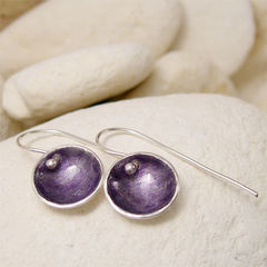 Purple,Enamel,Silver,Round,Artisan,Earrings,Jewellery, Earrings, Metalwork, enamel silver, enamel jewelry, artisan earrings, purple fused glass, fused glass earrings, dangle earrings, small round earrings, simple modern silver, hand forged silver, hand forged jewelry, mulberry grape, plum aubergine