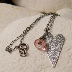 Rose,Textured,Folk,Heart,Pendant,Necklace,with,Pink,Quartz,Gemstone,Jewelry, Necklace, Metalwork, sterling silver, silver heart, heart necklace, folk heart pendant, climbing rose, textured silver, silver flower, boho jewelry, pink quartz, flower necklace, wire wrapped, gemstone necklace, nature jewelry