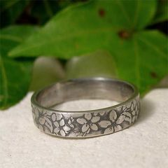 Sterling,Silver,Midnight,Jasmine,Flower,Ring,Band,Jewellery, Rings, Bands, sterling silver ring, silver ring band, hand forged silver, hand forged jewelry, silver flower ring, rustic ring, nature ring, organic jewelry, botanical jewelry, textured silver, textured ring, jasmine flower, jasmine ring
