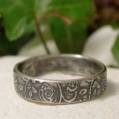 Rustic,Rambling,Rose,Textured,Sterling,Silver,Ring,Band,Jewellery, Rings, Bands, sterling silver ring, silver rose ring, silver ring band, rose ring band, dainty flower ring, flower pattern, pattern silver ring, simple silver ring, rustic country ring, casual jewelry, boho jewelry, hand made jewelry, nature ri