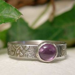 Purple,Amethyst,Ring,,Antiqued,Rose,Textured,Sterling,Silver,Ring,Band,Jewelry,sterling_silver_ring, silver_jewelry,  Solitaire Rings, purple amethyst ring, hand forged silver, silver gemstone ring, antiqued silver, textured silver ring, sterling silver ring, silver ring band, february birthstone, february birt