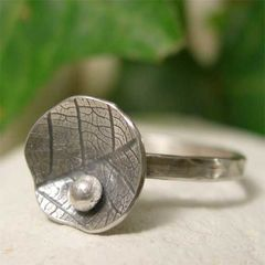 Oxidized,Sterling,Silver,Lily,Pad,&,Dewdrop,Stacking,Ring,hand crafted Jewelry, Ring, hand made sterling silver ring, Stackable Rings, silver stacking ring, oxidized silver lily pad, dewdrop stack ring, stackable ring, organic silver leaf ring, hand forged nature jewelry, boho ring