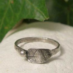 Sterling,Silver,Leaf,and,Berry,Thin,Band,Stacking,Ring,hand crafted Jewelry, Ring, hand made Stackable Rings, artisan sterling silver stacking ring, oxidised silver ring, silver leaf ring, silver berry ring, organic silver nature ring, rustic jewelry, botanical jewelry, silver skinny stacker ring
