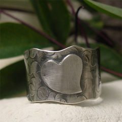 Extra,Wide,Sterling,Silver,Wavy,Edged,Ring,Band,,Organic,Texture,and,Heart,hand crafted Jewellery, Rings, Bands, sterling silver ring, simple silver ring, hand hammered, hammered silver ring, oxidized silver ring, silver ring band, hand forged jewelry, blackened silver, mens ring, wide band ring, rustic silver ring, hammered jew