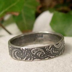 Sterling,Silver,Feather,Patterned,Slim,Band,Ring,Jewellery, Rings, Bands, sterling silver ring, silver feather ring, simple silver ring, silver ring band, promise ring, ring for him, ring for her, jewelry gift for her, feather jewelry, textured ring, alternative wedding, patterned silver, hand forged je