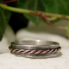 Twisted,Copper,Rope,Sterling,Silver,Narrow,Band,Ring,Jewellery, Rings, Bands, sterling silver ring, silver ring band, rustic copper ring, rustic silver ring, organic ring, textured silver, copper wire, hand forged metal, mixed metal ring, copper rope, twisted wire, casual unisex ring, slim band ring