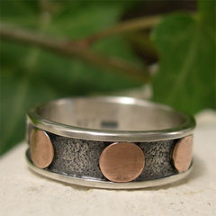 Hand,Forged,Mixed,Metal,Copper,and,Sterling,Silver,Industrial,Ring,Band,Jewellery, Rings, Bands, sterling silver ring, silver ring band, copper ring, casual ring, hand forged ring, mens ring, womens ring, textured silver, silver and copper mixed metal ring, unique jewelry gift, two tone ring, industrial jewelry