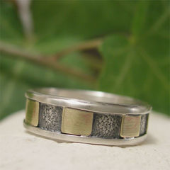 Industrial,Mixed,Metal,Men's,Ring,Band,,Hand,Forged,in,Sterling,Silver,&,Brass,Jewellery, Rings, Bands, sterling silver ring, silver ring band, industrial ring, hand forged ring, textured silver, silver and brass, mixed metal ring, brass ring, inset ring, unique mens ring, mens jewelry, gift for men, casual silver ring