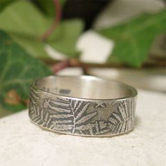 Forest,Floor,Fern,Organic,Sterling,Silver,Ring,Band,Jewellery, Rings, Bands, sterling silver ring, organic silver ring, forest ring, rustic woodland fern ring, nature lovers gift, sylvan frond ring, botanical jewelry, silver leaf jewelry, wide band ring, boho gypsy ring, hippy jewelry, mother earth ring
