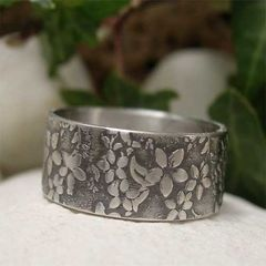Sterling,Silver,Midnight,Jasmine,Flower,Wide,Band,Ring,Jewellery, Rings, Bands, sterling silver ring, silver ring band, hand forged silver, hand forged jewelry, silver flower ring, rustic ring, nature ring, organic jewelry, botanical jewelry, textured silver, textured ring, jasmine flower, jasmine ring