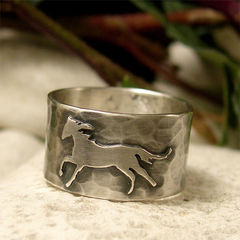Running,Wild,Horse,Sterling,Silver,Wide,Band,Ring,Jewellery, Rings, Bands, sterling silver ring, wild horse ring, silver horse ring, wide band ring, hammered silver ring, men's ring, women's ring, running horse, mustang ring, horse lovers gift, equestrian jewelry, animal jewelry, hand made to order