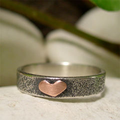 Tiny,Copper,Heart,Sterling,Silver,Textured,Ring,Band,Jewellery, Rings, Bands, sterling silver ring, silver ring band, hand forged silver, mixed metal ring, organic ring, simple ring, romantic gift, romantic jewelry, copper heart ring, hand forged ring, textured silver ring, 7th anniversary gift, wedding ann