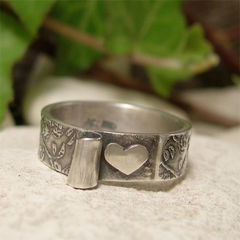 Revealed,Heart,Valentine,Sterling,Silver,Rose,Textured,Ring,Jewellery, Rings, Bands, sterling silver ring, romantic ring band, rose textured ring, silver heart ring, hidden heart ring, valentine jewelry, girlfriend gift, hand made jewelry, hand forged metal bohemian jewelry, commitment ring, silver promise ring, w