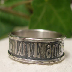 Love,,Liebe,,Amore,,Romantic,Sterling,Silver,Ring,Band,Jewellery, Rings, Bands, sterling silver ring, silver ring band, rustic ring, girlfriend ring, boyfriend ring, romantic jewelry, amore liebe oxidized ring, silver promise ring, silver love ring, silver word ring, sweetheart ring, silver ring gift