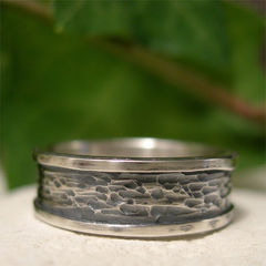 Sterling,Silver,Tree,Bark,Ring,Band,with,Smooth,Borders,Jewellery, Rings, Bands, sterling silver ring, tree bark ring, textured silver ring, hammered silver ring, hand forged ring, oxidized ring, rustic ring, men's ring, women's ring, organic ring, casual ring band, raised edge ring, smooth edge ring