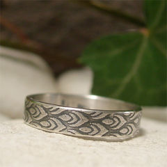 Art,Deco,Flame,Design,Sterling,Silver,Ring,Band,Jewellery, Rings, Bands, sterling silver ring, silver ring band, art deco style oxidized silver ring, unisex ring, vintage style ring, 4mm narrow band, artisan jewelry, textured silver, embossed ring, patterned silver, silver flame ring, mens womens ring