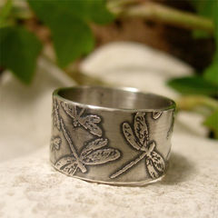 Hand,Fabricated,Sterling,Silver,Dragonfly,Wide,Band,Ring,Jewellery, Rings, Bands, sterling silver ring, silver ring band, embossed silver ring, hand fabricated ring, nature jewelry, 10 mm wide ring band, 1 cm wide ring band, organic rustic ring, boho jewelry, garden insect ring, silver dragonfly, dragonfly ring