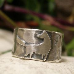 Wide,Band,Sterling,Silver,Wolf,Ring,Jewellery, Rings, Bands, sterling silver ring, wide band ring, hammered silver ring, silver wolf ring, wild dog ring, oxidized silver animal jewelry, jewelry for men, ring for women, hand forged jewelry, pagan ring gift, rustic jewelry, symbolic jewelry