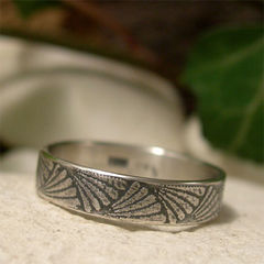 Art,Deco,Fan,Design,Sterling,Silver,Ring,Jewellery, Rings, Bands, sterling silver ring, silver fan ring, fan ring band, silver ring band, art deco style oxidized silver ring, unisex ring, vintage style ring, 4mm narrow band artisan jewelry, textured silver, embossed ring, patterned silver
