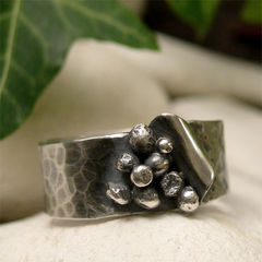Silver,Seeds,Hammered,Sterling,Wide,Band,Ring,Jewellery, Rings, Bands, sterling silver ring, silver ring band, hammered silver ring, wide band ring, hand forged ring, peeled silver layered silver, silver seed ring, unique organic ring, mens ring, mans jewelry, natural jewelry, oxidized silver