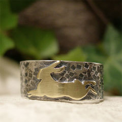 Running,Hare,Mixed,Metal,Brass,and,Sterling,Silver,Ring,Band,Jewellery, Rings, Bands, sterling silver ring, silver ring band, hand forged silver leaping hare ring, silver hare, ring brass hare, running hare folklore jewelry, pagan ring, organic rustic woodland ring, mystical hare ring, mixed metal jewelry
