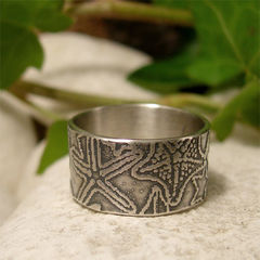 Hand,Crafted,Sterling,Silver,Starfish,Wide,Band,Ring,Hand crafted jewellery, Rings, Bands, hand made sterling silver ring silver ring band, embossed silver ring, silver starfish ring, beach lovers gift, hand fabricated ring, nature jewelry, 10 mm wide ring band, 1 cm wide ring band, ocean jewelry, sea ring