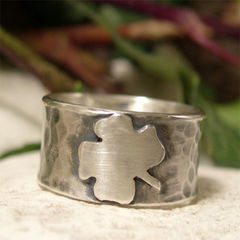 Hammered,Sterling,Silver,Shamrock,Ring,hand crafted Jewellery, Rings, Bands, hand made sterling silver ring, wide band ring, shamrock ring, hammered silver ring, four leaf clover irish ring, st patrick's day, paddy's day ring, lucky charm jewelry, symbolic jewelry, cultural ring, celtic jewelr