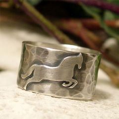 Prancing,Horse,Sterling,Silver,Wide,Band,Ring,hand crafted Jewellery, Rings, Bands, hand made sterling silver ring, wide band ring, hammered ring, leaping horse ring, prancing pony ring, horse lovers gift, hand forged jewelry, animal jewelry, full band ring, organic ring, cowboy ring, country jewelry