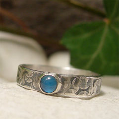 Blue,Agate,Cabochon,Sterling,Silver,Ring,with,Distressed,Hammered,Band,hand made Jewellery, Rings, Solitaire Rings, artisan blue stone ring, blue agate gemstone, gemstone ring, sterling silver ring, distressed silver band, ring rustic ring, mens ring, womens ring, hand forged jewelry, hammered textured, boho jewelry, hippy h